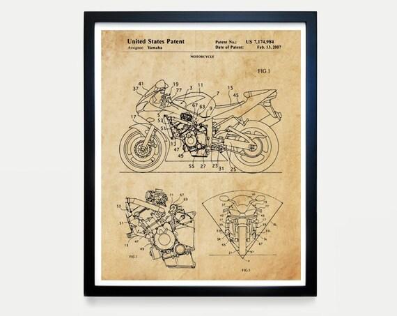 Yamaha Motorcycle Patent Art - Yamaha Poster - Yamaha Art - Motorcycle Art - Motorcycle Patent Art - Motorcycle Poster - Yamaha Wall Art