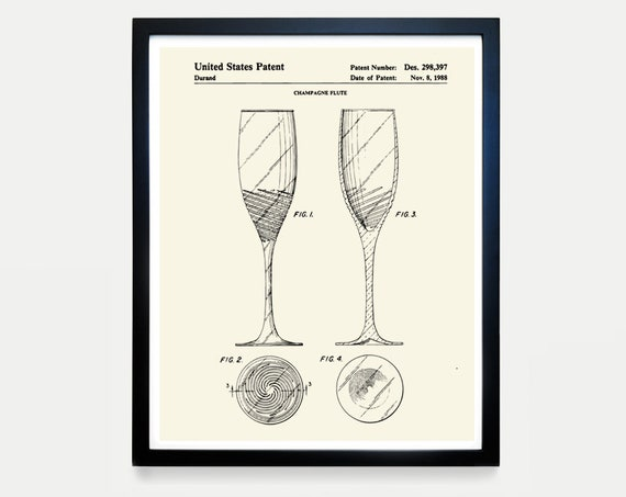 Champagne Flute Patent Art - Champagne Poster - Champagne Decor - Champagne Wall Art - Cocktail - Bar - Restaurant Art - Bar Decor - Cork