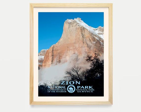 Zion National Park Poster - Zion Poster - Zion Art- California Art - Wall ARt - National Park Poster - WPA - WPA Poster - WPA Art