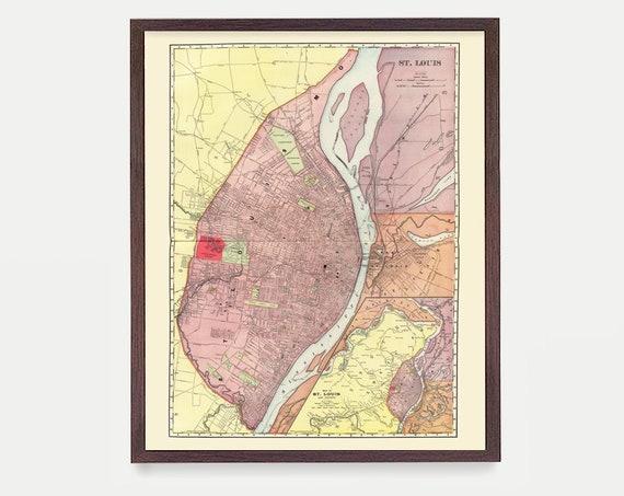 St Louis Map - St Louis Missouri - St Louis Poster - St Louis Wall Art - St Louis Decor - Map Art - City Map - Missouri Map - Missouri Art