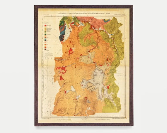 Yellowstone National Park Map, Antique Map, Yellowstone Art, Yellowstone Wall Art, National Park Art, Vintage Map, Nature Art, Park Poster