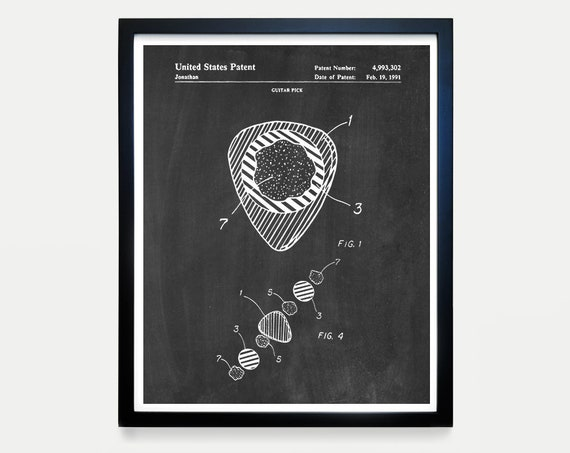 Guitar Poster - Guitar Pick Patent - Fender Guitar Art - Fender - Electric Guitar - Music Poster - Guitar Pick - Guitar Decor - Acoustic
