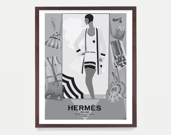 Hermes Poster - Vintage Women - Beach Fashion Art - Hermes Paris - Fashion Poster - Vintage Fashion - Fashion Art - Travel Poster - French