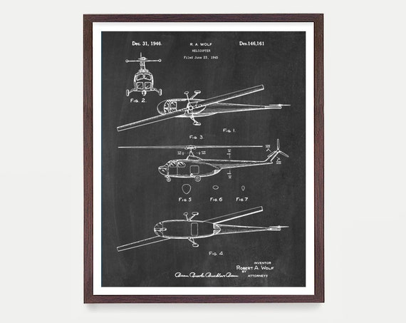 Helicopter Patent Art - Helicopter Poster - Helicopter Design - Helicopter Pilot - Aviation - Aviator - Medical Helicopter Rescue Helicopter