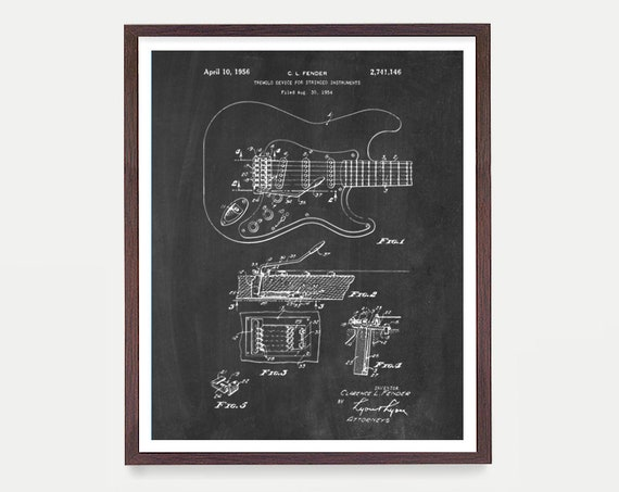 Guitar Poster - Fender Guitar Art - Fender - Electric Guitar - Music Poster - Patent Print - Patent Poster - Guitar Hero - Rock n Roll
