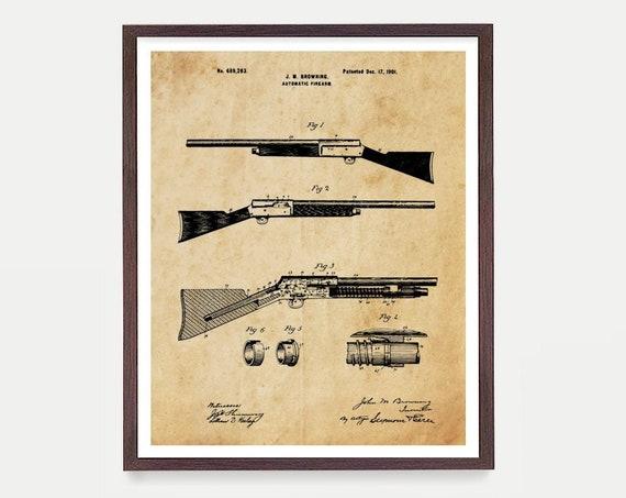 Gun Patent - Firearm Patent - Shotgun Patent - Gun Art - Gun Decor - Gun Lover - Shotgun Poster - Hunting Art - Hunting Poster - Firearm Art