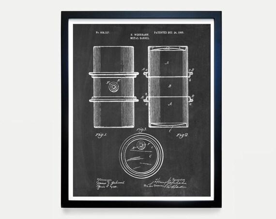 Oil Drum Patent - Oil Patent Art - Oil Wall Art - Oil Decor - Vintage Oil Drum - Crude - Drilling - Patent Prints - Patent Art - Oil Company