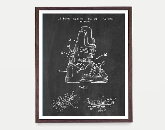Ski Boot Patent - Ski Patent - Ski Art - Skiing Art - Ski Poster - Ski Equipment - Skiing Wall Art - Ski Wall Art - Ski Decor - Patent Art