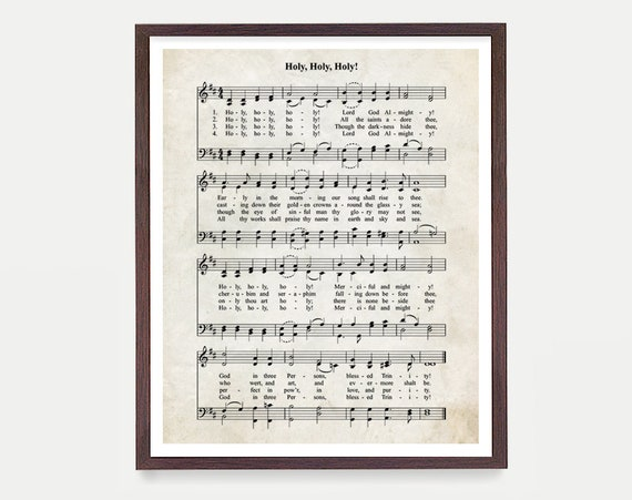 Holy Holy Holy Hymnal Print, Hymn Poster, Music Decor, Music Print, Hymnal Poster, Hymnal Decor, Music Minister Gift, Music Gift