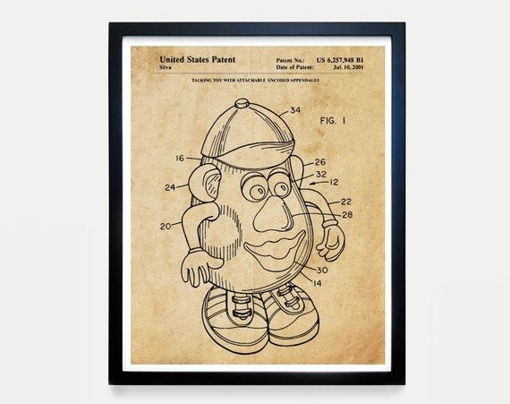 Mr Potato Head Patent - Tory Story Art - Toy Story Poster - Kids Room Art - Kids Room Poster - Nursery Art - Baby Shower Gift - Toy Art