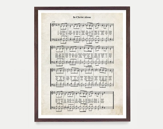 In Christ Hymnal Print, Hymn Poster, Music Decor, Music Print, Hymnal Poster, Hymnal Decor, Music Minister Gift, Music Gift