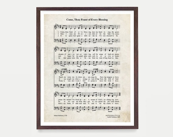 Come Thou Fount Every Blessing Hymnal Print, Hymn Poster, Music Decor Music Print Hymnal Poster, Hymnal Decor Music Minister Gift Music Gift