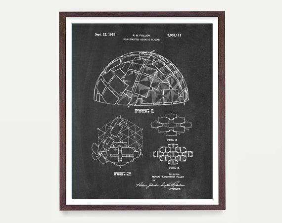 Buckminster Fuller - Geodesic Dome Patent - Architecture Poster - Architecture Wall Art - Buckminster Fuller Art - Geodesic Dome Art - Dome