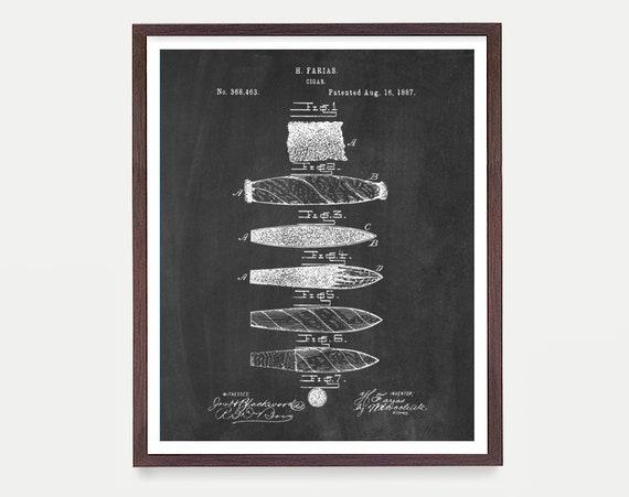 Cigar Poster - Cigar Patent - Cigar Art - Smoke Shop - Cigar Wall Art - Cigar Decor - Cigar Rolling - Smoke Art - Smoke Poster