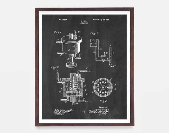 Henry Ford - Ford Motors - Engine - Ford Motors - Automobile Poster - Mechanic - Ford Patent - Car Poster - Car Patent - Carburetor Patent