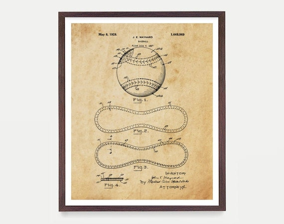 Baseball Art - Baseball Poster  - Baseball Print - Baseball Decor - Baseball patent - Baseball Gift - Boys Room Art - Baseball Wall Art ball