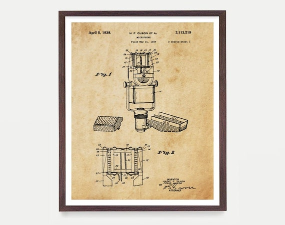 Microphone Patent Print - Microphone - Singer - Vocals - Vocalist - Music Wall Art - Music Poster - Band Art - Rock n Roll Poster