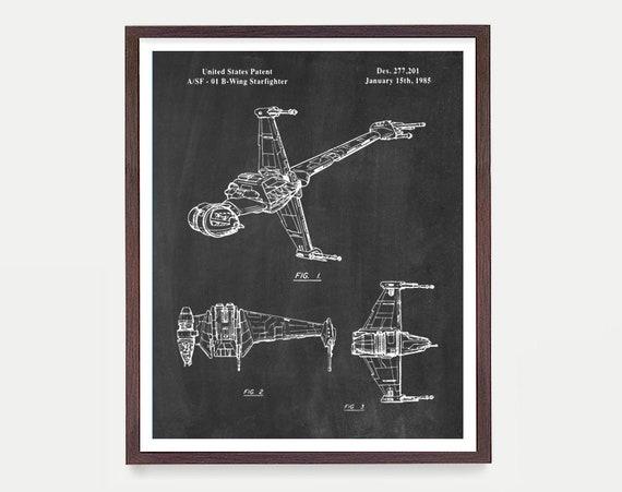 Star Wars B Wing Fighter, Star Wars Patent, Star Wars Poster, Star Wars Art, Star Wars Wall Art, Sci Fi Art, Star Wars Gift