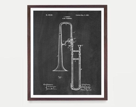 Trombone - Trombone Art - Trombone Patent - Horn - Musical Instrument - Music Poster - Patent Print - Patent Poster - Canvas Print  Wall Art