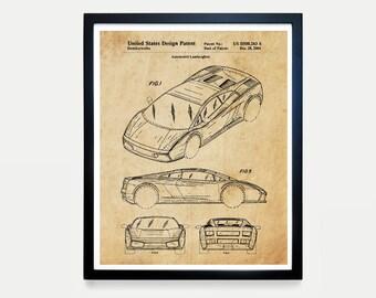 Lamborghini Patent Art - Lamborghini Poster - Lamborghini Art - Car patent - Automobile - Racing - Sports Car  Driving  Lamborghini Wall Art