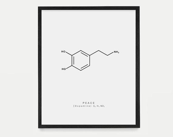 Peace Molecule Art - Dopamine Molecule Poster - Molecule Art - Molecule Wall Art - Peace Poster - Nerdy Art - Housewarming Gift - Home Decor