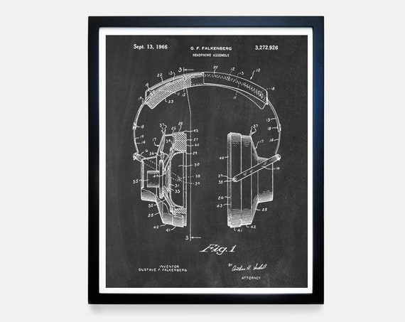 Headphones Patent - Stereo Patent Poster - Headphone Art - Audio- Vinyl Poster - Music Patent - Record Player Poster - Audio Poster - Sound