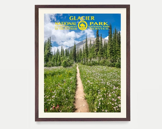 Glacier National Park Poster, Glacier National Park Art, National Park Art, WPA, WPA Poster, WPA Art, Rocky Mountains, Montana Poster