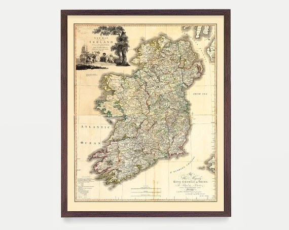 Ireland Map, Ireland Poster, Ireland Art, Map Decor, Irish Art, Ireland Art, Ireland Decor, Ireland Wall Art, Old Map, Ireland Gift