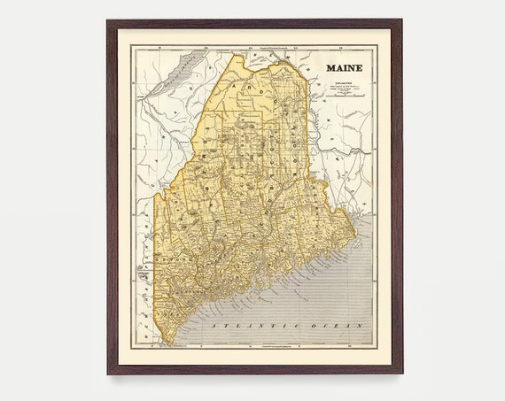 Maine Map - Maine Art - Maine Wall Art - Maine Decor - Portland Maine - New England - Map Art - Map Decor - Vintage Map - Maine Poster