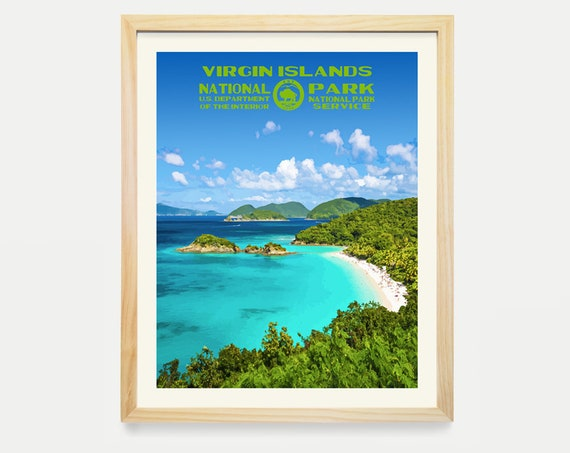Virgin Islands National Park Poster - US Virgin Islands  - National Park Art - WPA  WPA Poster Wpa Art - Trunk Bay - Trunk Bay Art - Canvas