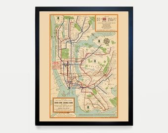 Nyc Subway Map Canvas Wall Art.Subway Map Etsy