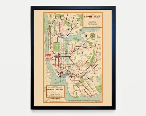 New York City Subway Map, Subway Map Art, Map Decor, New York Map, New York City Art, Subway Map Art, New York City Wall Art, NYC