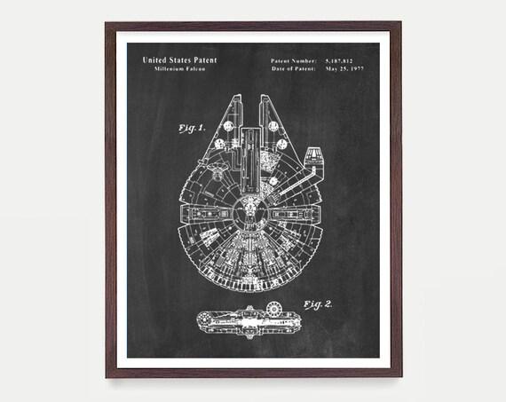 Star Wars Art, Millenium Falcon, Star Wars Patent, Star Wars Poster, Star Wars Gift, Millenium Falcon Patent, Star Wars Wall Art, Poster