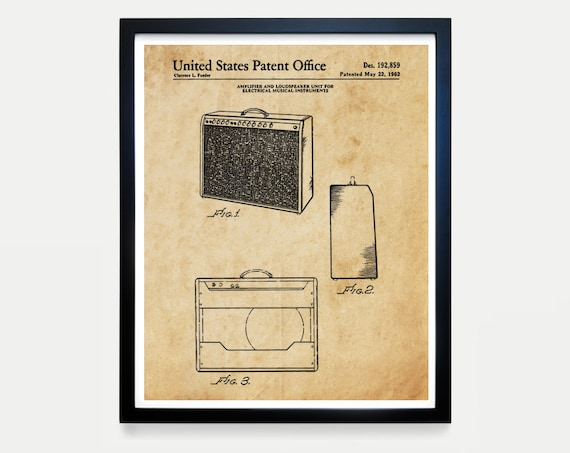 Fender Guitar Amp Patent Poster Wall Art, Electric Guitar, Music Poster, Amplifier Patent, Guitar Player Gift, Music Decor, Instrument