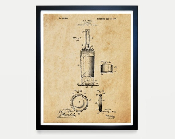 Wine Bottle Patent - Wine Patent - Wine Poster - Wine Art - Wine Print - Wine Decor - Wine Gift - Vineyard - Wine Wall Art - Vineyard Art