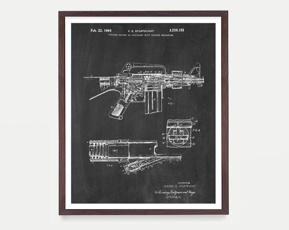 Gun Patent - Firearm Patent - M16 Patent - Gun Art - Gun Decor - Machine Gun - M 16 - M16 Art - Gun Wall Art - Gun Lover - Firearm Art