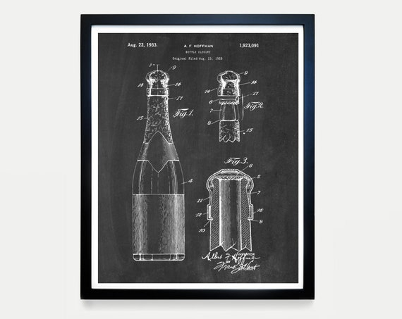 Champagne Bottle Patent Art - Champagne Poster - Champagne Decor - Champagne Wall Art - Cocktail - Bar - Restaurant Art - Bar Decor - Cork