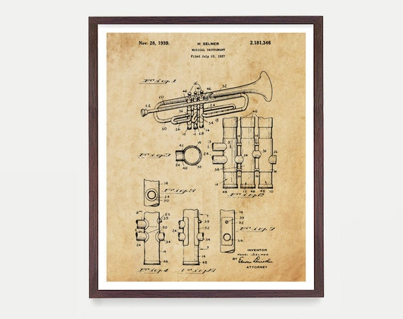 Trumpet Poster, Music Poster, Band Poster, Trumpet Patent, Marching Band, Patent Poster, Trumpet Gift, Music Gift, Home Decor, Kids Room Art