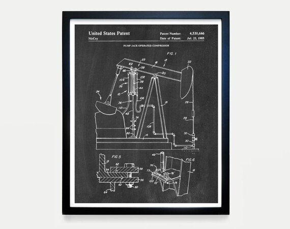 Oil Pump Jack Patent - Oil Patent Art - Oil Wall Art - Oil Decor - Oil Poster - Crude - Drilling - Patent Prints - Pump Jack Wall Art