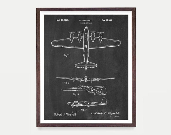 Airplane B-17 Bomber Patent Print Wall Art Poster, Airplane Art, Aviation Patent, Aviation Gift, Pilot Gift, Air Force Wall Art