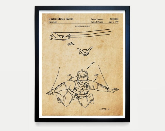 Skydiving Patent Poster - Skydiving Art - Parachute Patent Print - Parachute Art - Skydiving Wall Art - Skydiving - Parachute Poster - Plane