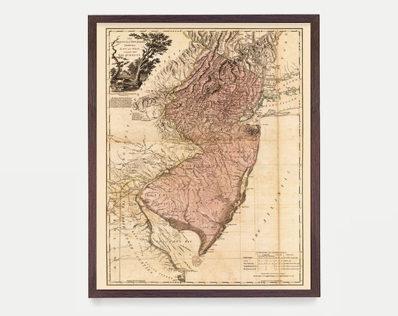 New Jersey Map, New Jersey Map Art, Map Decor, New Jersey Art, New Jersey Map Art, New Jersey Wall Art, New Jersey, Vintage Map