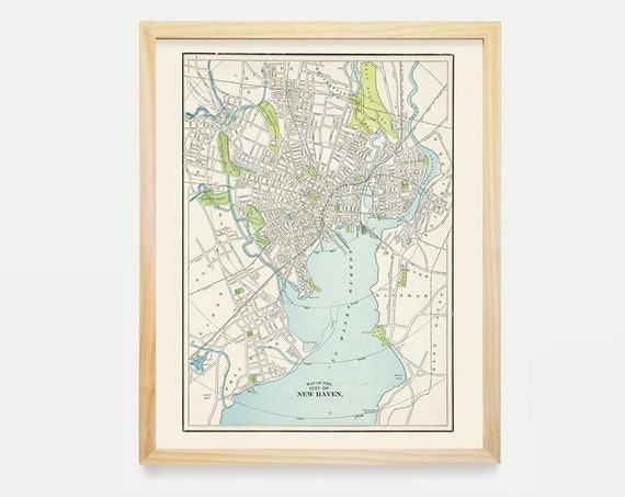 New Haven Map, Antique Map, New Haven Art, New Haven Poster, City Map, Connecticut Map, Map Art, Vintage Map, Yale, Yale Map, Yale Decor