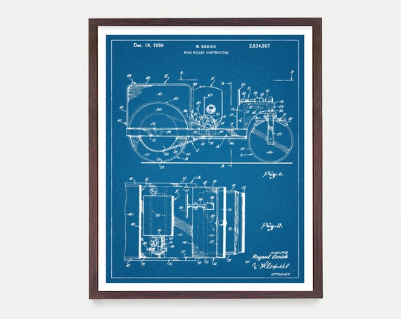 Construction Patent - Steam Roller Patent Print  - Building Art - Construction Art - Construction Poster - Architecture - Building