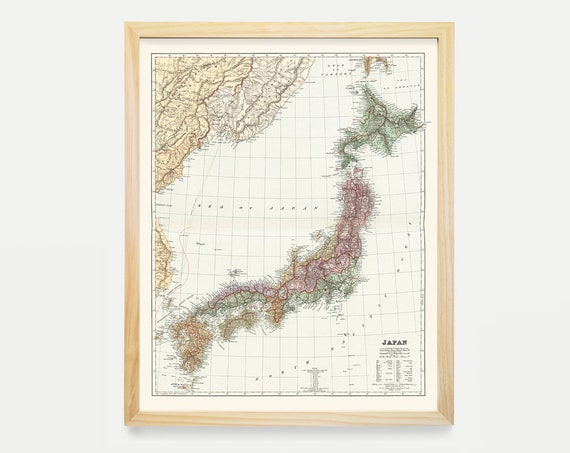 Japan Map - Japan Map Art - Map Decor - Japanese Decor - Japanese Art - Japan Wall Art - Old Map - Vintage Japan - Tokyo Map - Tokyo Art
