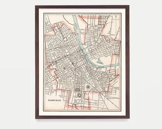 Nashville Map - Nashville Art - Nashville Wall Art - Tennessee Map - Tennessee Art - Tennessee Poster - Tennessee Decor - Nashville Gift
