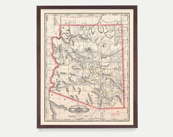 Arizona Map - AZ Map - Map Art - Map Decor - State Map - Arizona Art - Arizona Decor - Arizona Wall Art - Old Map  City Map - Arizona Poster