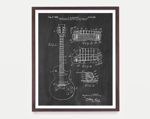 Gibson Les Paul - Les Paul Patent Poster - Gibson Patent Art - Guitar Patent - Guitar Poster - Guitar Art - Les Paul Art - Electric Guitar