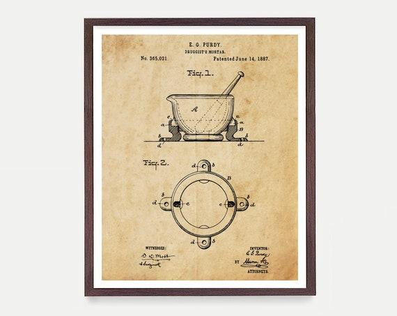 Pharmacist Patent Art - Mortar - Pharmacy Patent - Pharmacist - Pharmacist Gift - Pill - Medicine - Bio Tech Patent Art - Bio Tech Art