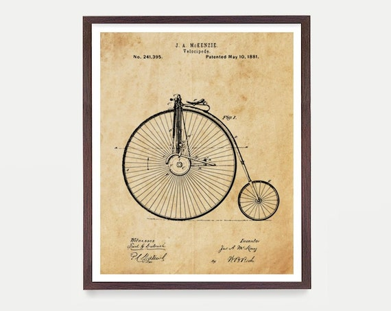 Velocipede - Vintage Bicycle - Bicycle Poster - Antique Bicycle - Bike Poster - Bike Art - Bicycle Art - Velocipede Poster - Bicycle Patent